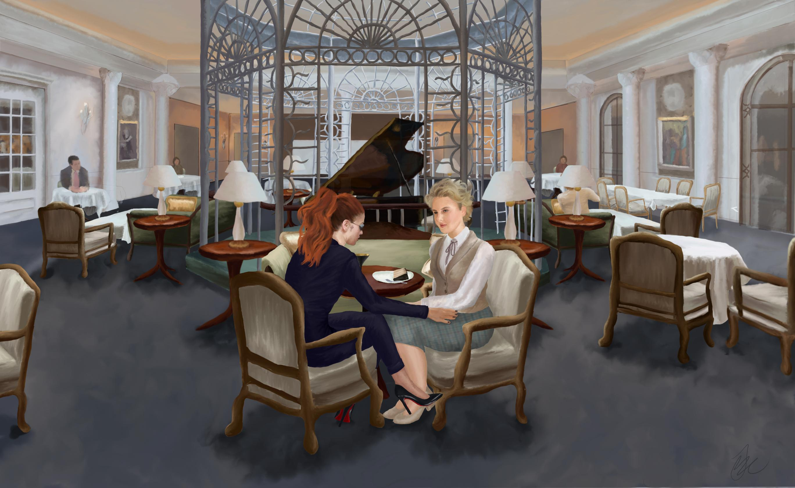 Female Crowley and Female Aziraphale at the Savoy, Crowley with her hand resting on Aziraphales thigh - image done by Robynthemagpie - click for larger image