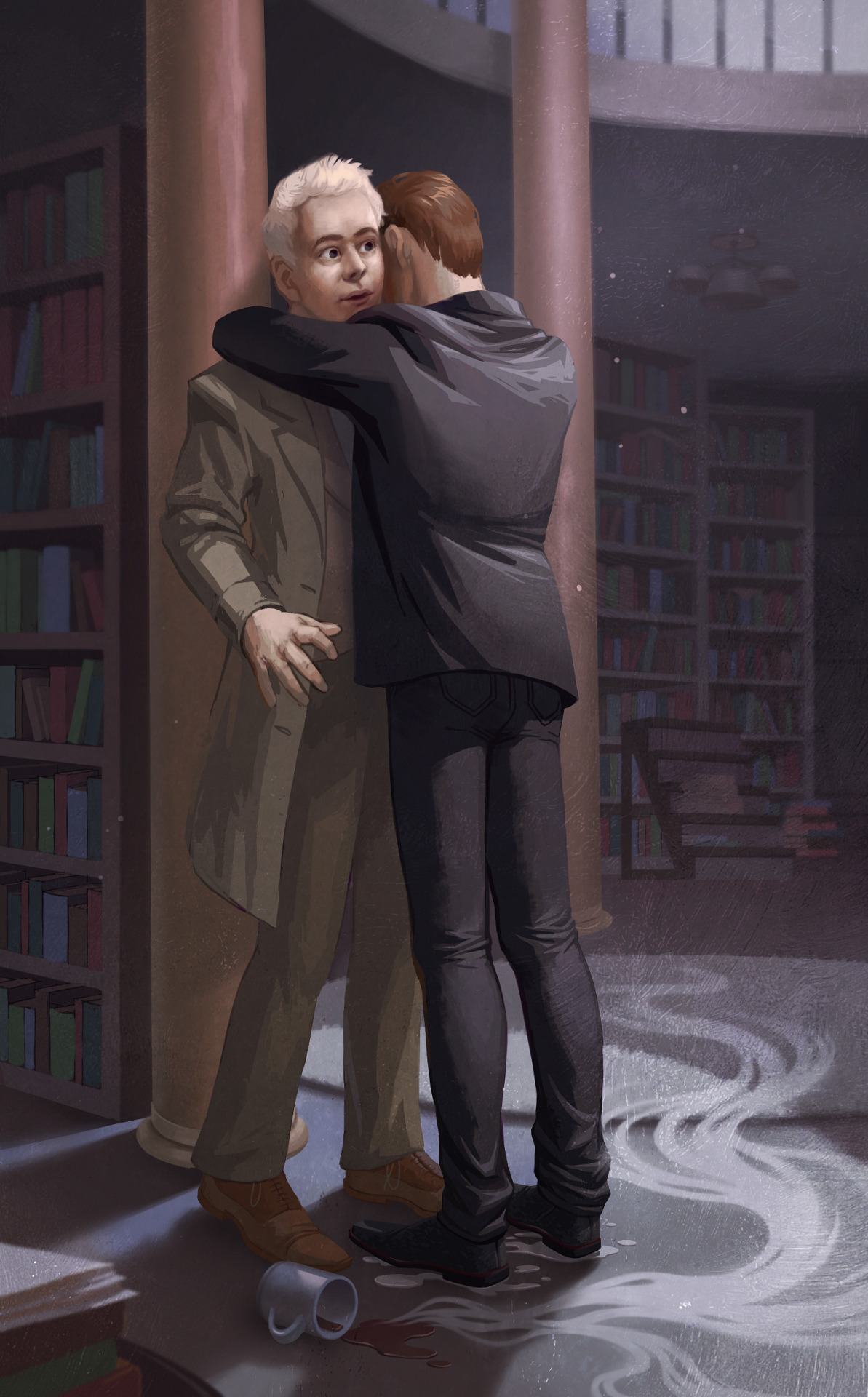 Aziraphale and Crowley in the bookshop. A drenched Crowley clinging to Aziraphale while the angel's hot chocolate lies spilled and forgotten on the floor